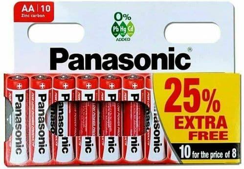 10 x AA , AAA Genuine PANASONIC Zinc Carbon Batteries - New R6 1.5V Expiry 08/23